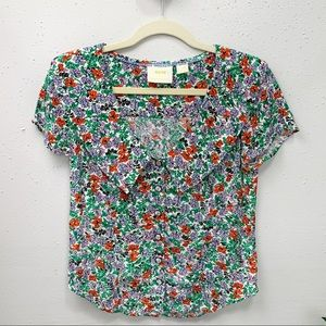 Anthropologie Maeve Austen Collared Blouse Floral